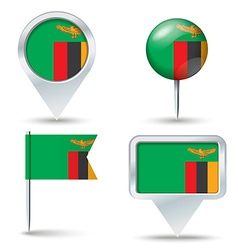 Map pins with flag of Zambia vector image