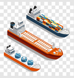 Modern cargo ships isometric design set of vector
