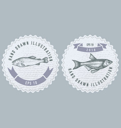 monochrome labels design with fish vector image