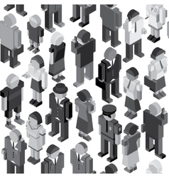 Monochrome People Seamless Pattern vector image