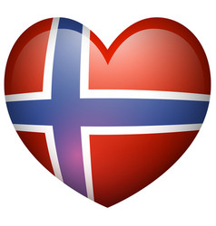 Norway flag in heart shape vector