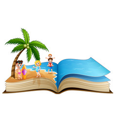 open book with happy children on tropical beach vector image