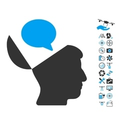 Open Mind Opinion Icon With Copter Tools Bonus vector