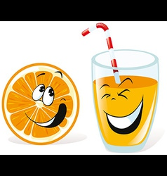 Orange and juice vector