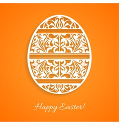 Orange background with a paper easter egg vector image