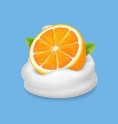 orange fruit in yogurt icon fruit and milk vector image vector image