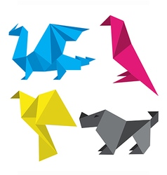 Origami in print colors vector