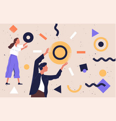 pair people collecting and organizing abstract vector image