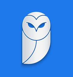 Paper cut owl icon isolated on blue background vector