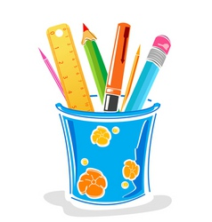 Pens and pencils in box vector