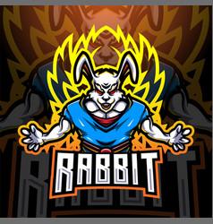 rabbit super esport mascot logo design vector image
