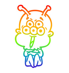 Rainbow gradient line drawing happy cartoon alien vector