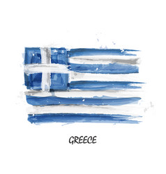 Realistic watercolor painting flag of greece vector