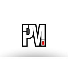 red and black alphabet letter pm p m logo vector image