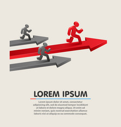 Running leader on grossing arrow business success vector