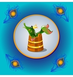 Russian folk character pike with peacock feather vector image