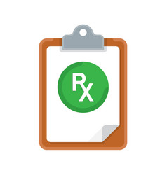 rx prescription and clipboard over white vector image vector image