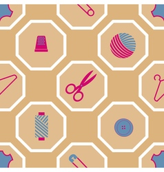 Seamless background with sewing accessories vector