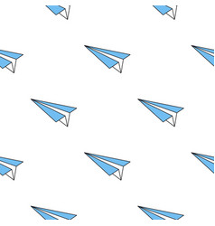 seamless pattern with paper blue plane vector image