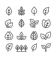 Set black icons leaves branches and trees vector