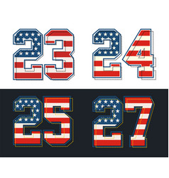 Set numbers textured american flags vector