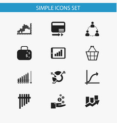 Set of 12 editable statistic icons includes vector