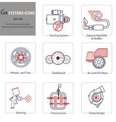Set of 8 icons automobile mechanical and electric vector