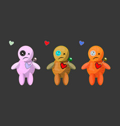 Set of cute cartoons rag voodoo dolls vector