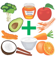 Set of healthy food for good digestion vector