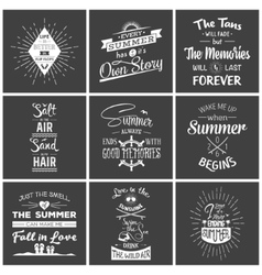 Set of vintage summer typographic quotes vector