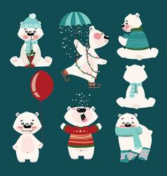 set polar bears collection cartoon polar vector image