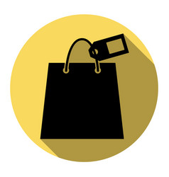 shopping bag sign with tag flat black vector image