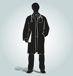 Silhouette of doctor vector