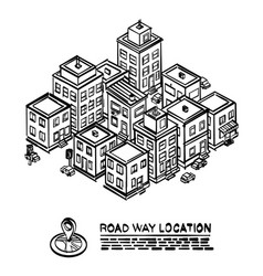 Sketch road in the cityscape isometric vector