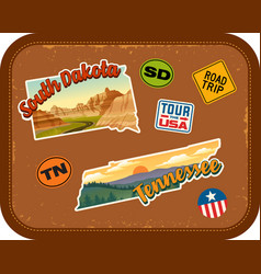 South dakota tennessee travel stickers vector