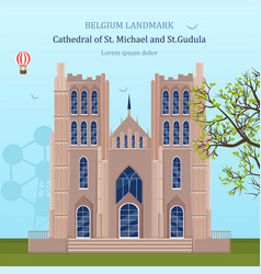 st michael cathedral in belgium vector image