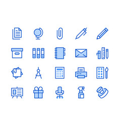 Stationery supplies store blue line icon vector