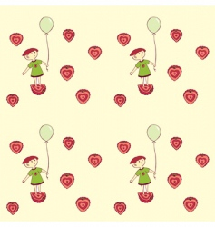 strawberry girl pattern vector image
