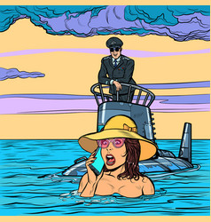 submarine captain rescues drowning woman vector image