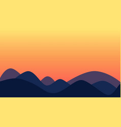 Sunset on hilly landscape rounded hills vector