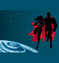 super mom dad and baby space silhouette vector image