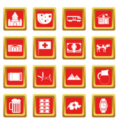 Switzerland icons set red vector
