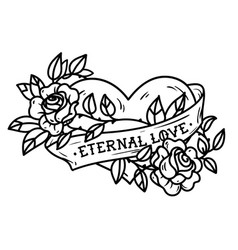 Tattoo heart entwined in climbing rosesold school vector