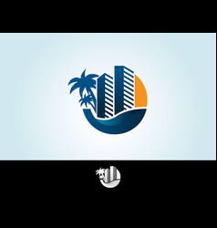 tropical island palms hotel and sunset on seaside vector image