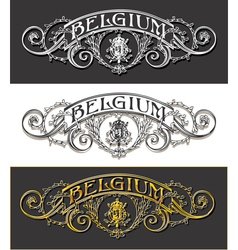 Vintage Belgium Label Banner Withe Black and Gold vector