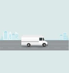 white truck on road cargo van vector image