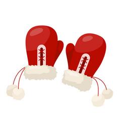 winter mittens pair vector image