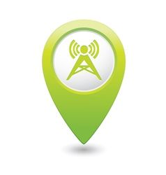 wireless icon green map pointer vector image