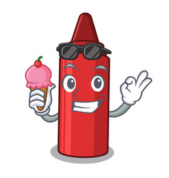 With ice cream red crayon in character shape vector
