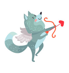 Wolf with amoretto wings holds bow and arrows vector
